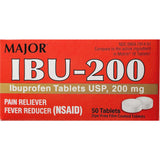Major IBU-200 mg (Compare to Motrin IB), 50 Dye-Free Film Coated Tablets