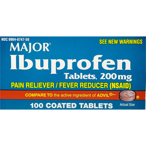 Major Ibuprofen, 200 mg (Compare to Advil) 100 Coated Tablets