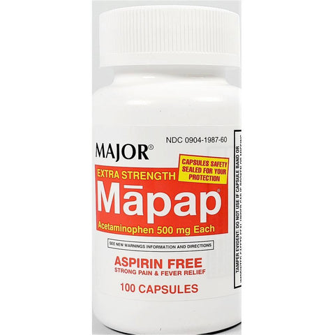 Major Mapap Acetaminophen Extra Strength (Compare to Tylenol), 500 mg 100 Capsules