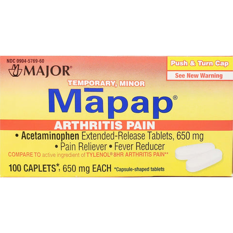 Major Mapap Arthritis Pain (Compare to Tylenol 8 hour),  650 mg 100 Caplets