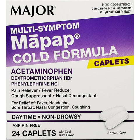 Major Multi Symptom Mapap,  Acetaminophen 325 mg 24 caplets