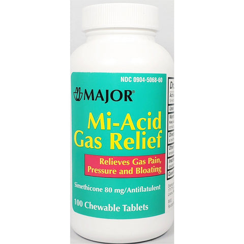 Major Mi-Acid Gas Relief, Simethicone 80 mg 100 Chew Tabs
