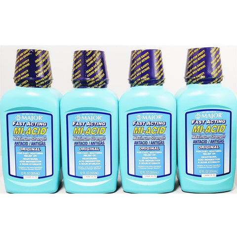 Major Mi-Acid, Antacid / Antigas Liquid (Compare to Mylanta) 12 fl oz each (4 pack)