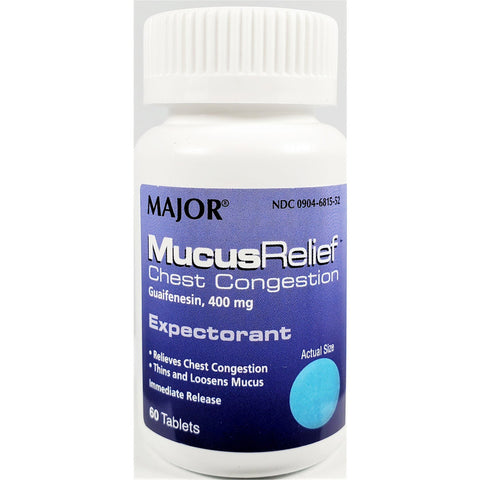 Major Mucus Relief Chest Congestion, Guaifenesin 400 mg 60 Tablets