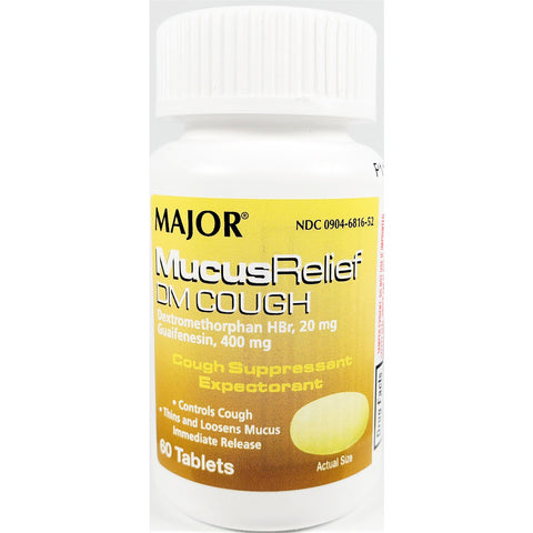 Major Mucus Relief DM Cough, Guaifenesin 400 mg 60 Tablets