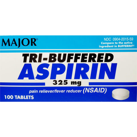 Major Tri-Buffered Aspirin, 325 mg (Compare to Bufferin) 100 Tablets