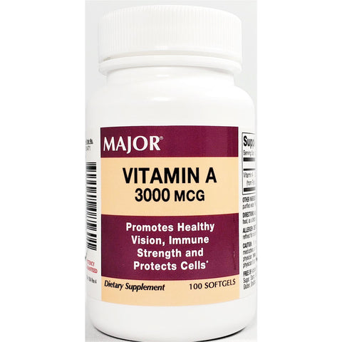 Major Vitamin A (Immune Support) 3000 mcg, 100 Softgels