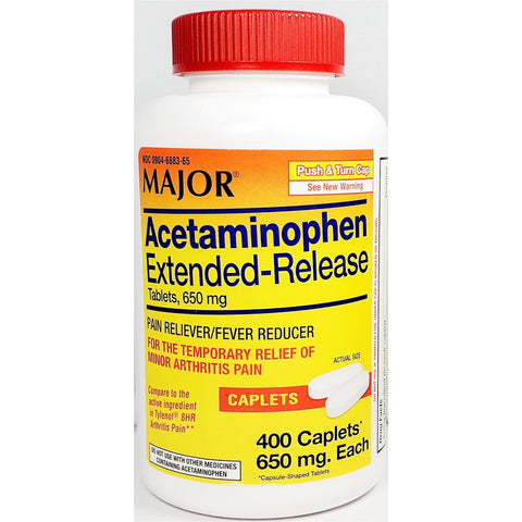 Major Acetaminophen Extended Release (Compare To Tylenol 8 Hr Arthritis) 650 mg, 400 Caplets
