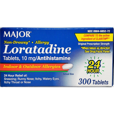 Major Loratadine (Compare To Claritin) 300 Tablets (1 Pack) Allergy Asthma & Sinus