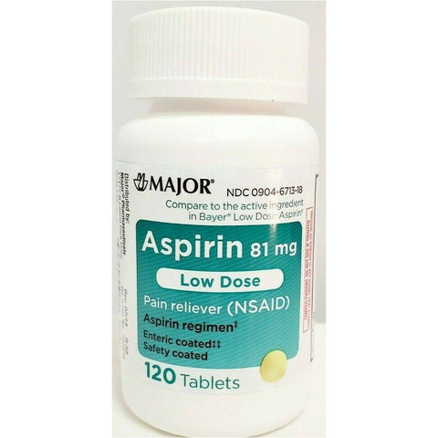 Major Aspirin Low Dose (Compare to Bayer) 81 mg 120 Enteric Coated Tablets (1 or 3 Pack)