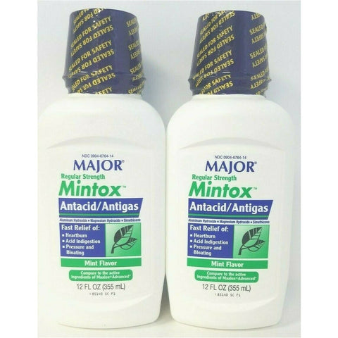 Major Mintox Regular Strength Antacid/antigas Mint Creme (Compare To Maalox) 12 Oz Each (2 Or 4