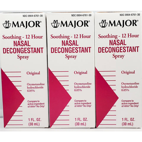 Major Nasal Decongestant Spray, 1 fl oz Each (3 Pack)