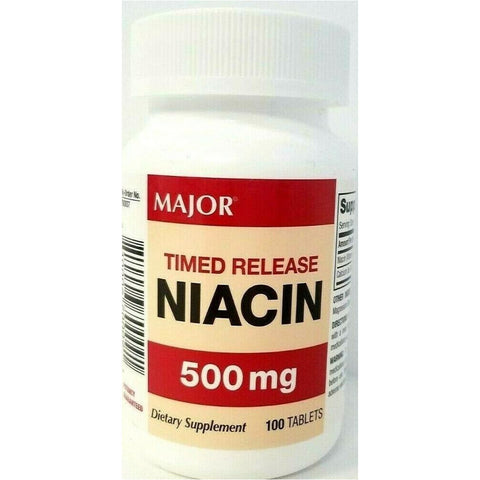 Major Timed Release Niacin, 500 mg 100 Tablets (1 or 3 Pack)