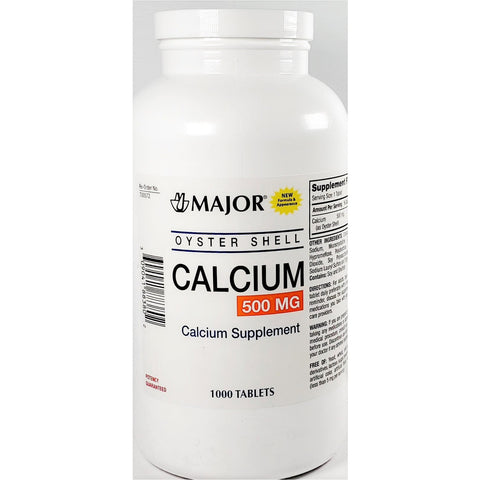 Major Oyster Shell Calcium 500 Mg 1000 Tablets (1 Pack) Supplement
