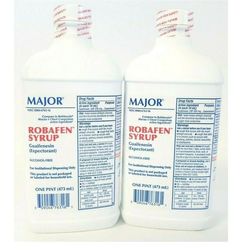 Major Robafen Syrup (Compare To Robitussin) 1 Pint Each (2 Pack) Cough Cold & Flu