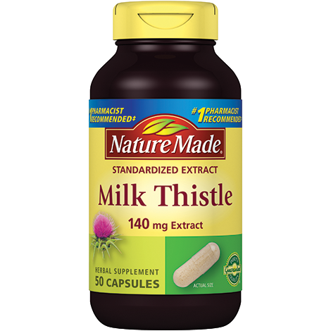 Nature Made Milk Thistle Herbal Supplement, 140 mg 50 Capsules (1 or 3 Pack)