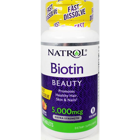 Natrol Biotin Beauty 5000 mcg, Fast Dissolve (Strawberry Flavor) 90 Tablets