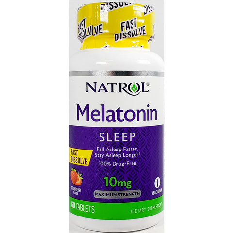 Natrol Melatonin, 10 mg (Strawberry Flavor) 60 Fast Dissolve Tablets