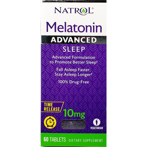 Natrol Melatonin, 10 mg Advanced Sleep (Time Release), 60 Tablets
