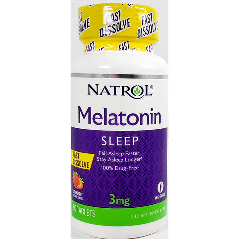 Natrol Melatonin, 3 mg (Strawberry Flavor) 90 Fast Dissolve Tablets