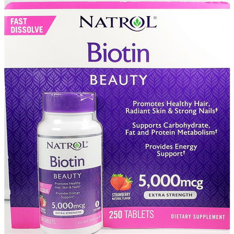 Natrol Biotin Beauty Fast Dissolve (Strawberry) 5 000 Mcg 250 Tablets (1 Pack) Supplement