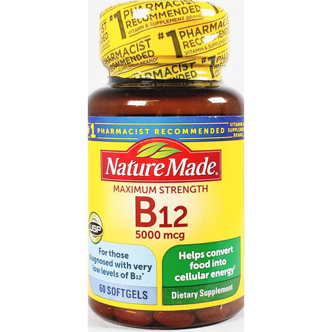 Nature Made B12, (Maximum Strength) 5000 mcg 60 Softgels