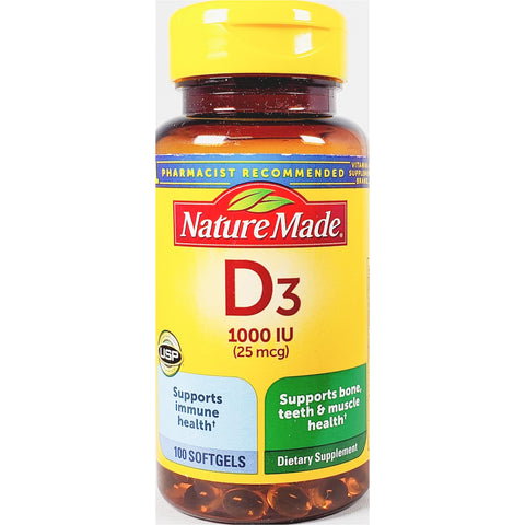 Nature Made Vitamin D3, 1000 IU (25 mcg) 100 Softgels (Immune Support)