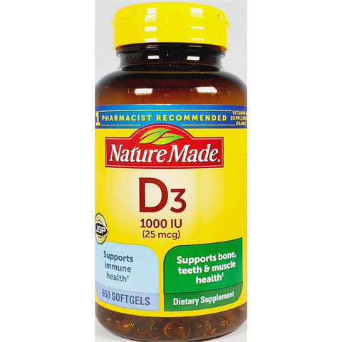 Nature Made Vitamin D3, 1000 mcg 650 Softgels (Immune Support)