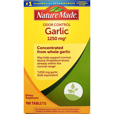 Nature Made Garlic (Odor Control), 1250 mg 100 Tablets