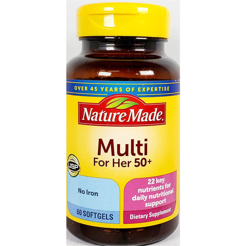 Nature Made Women's Multi 50 plus (No Iron), 60 Softgels