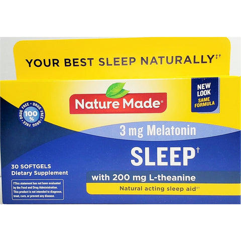Nature Made Sleep With L-Theanine 3 Mg Melatonin 30 Softgels (1 Pack) Aids