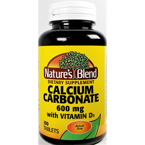 Nature's Blend Calcium Carbonate 600 mg with Vitamin D3, 100 Tablets