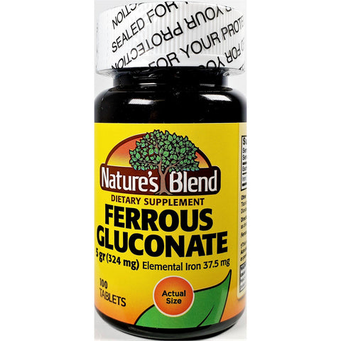 Nature's Blend Ferrous Gluconate, 5 g (324 mg) 100 Tablets