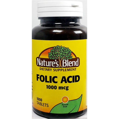 Nature's Blend Folic Acid 1000 mcg, 1000 Tablets