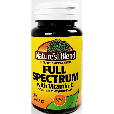 Nature's Blend Full Spectrum with Vitamin C (Compare to Nephro-Vite), 100 Tablets