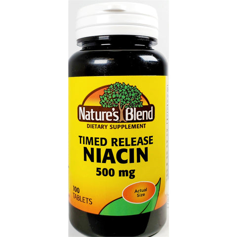 Natures Blend Niacin (Timed Release), 500 mg 100 Tablets