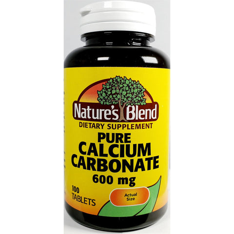 Nature's Blend Pure Calcium Carbonate 600 mg, 100 Tablets