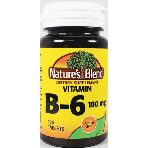 Nature's Blend Vitamin B6, 100 mg 100 Tablets