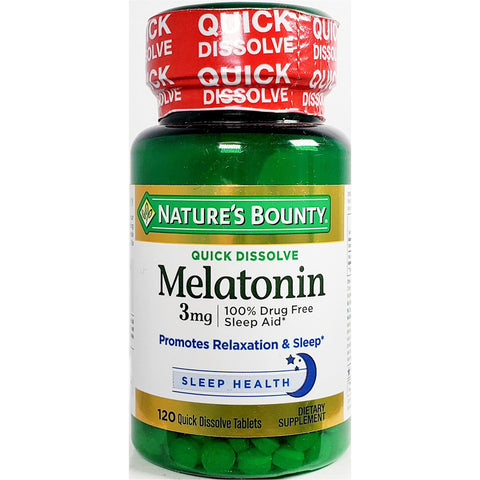 Nature's Bounty Melatonin, 3 mg (Quick Dissolve) 120 Tablets