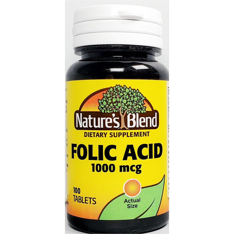 Nature's Blend Folic Acid 1000 mcg, 100 Tablets