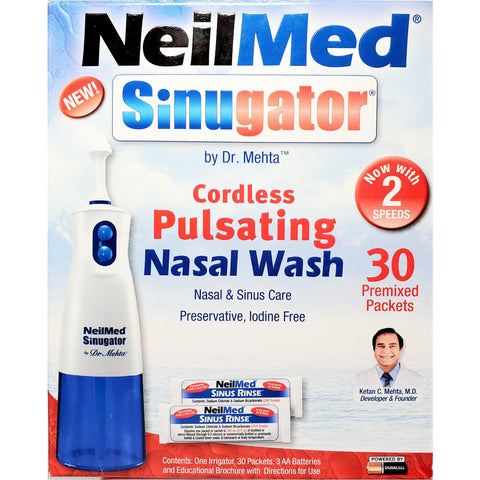 NeilMed Sinugator, Cordless Pulsating Nasal Wash with 30 Premixed Packets