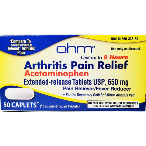 Ohm Arthritis Pain Relief (Compare to Tylenol Arthritis) 650 mg, 50 Caplets