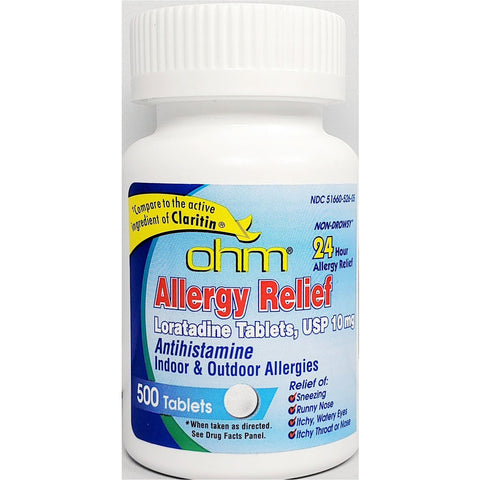 Ohm Allergy Relief, Loratadine 10 mg 500 Tablets