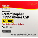 Perrigo Acetaminophen Suppositories for Children (Compare to Fever All), 120 mg 100 Count