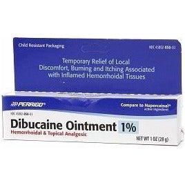 Perrigo Dibucaine Hemorrhoidal Ointment 1%, (Compare to Nupercainal) 1 oz (1 Pack)