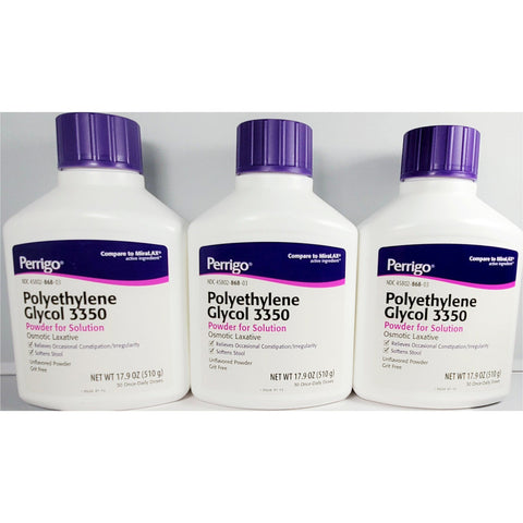 Perrigo Polyethylene Glycol 3350 Osmotic Laxative (Compare To Miralax) 17.9 Oz Each (1 Or 3 Pack)