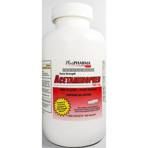 PlusPharma Acetaminophen, 500 mg (Compare to Extra Strength Tylenol) 1000 Caplets
