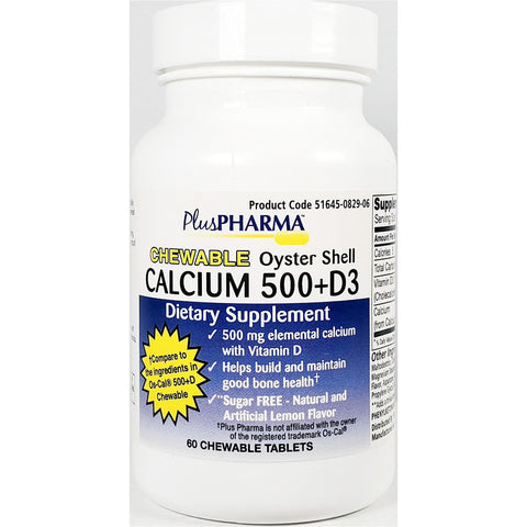 PlusPharma Oyster Shell Calcium, 500 mg plus D3 (Compare to Os-Cal 500 +D), 60 (Sugar Free) Chewable Tablets