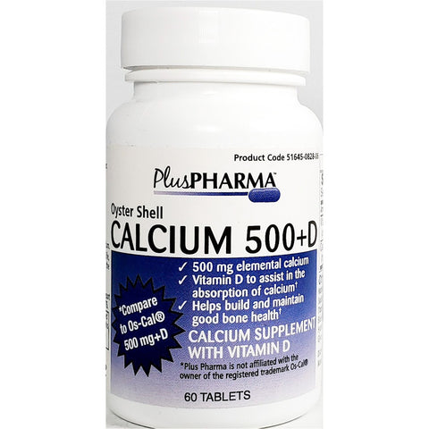 PlusPharma Calcium, 500 mg plus D,  60 Tablets