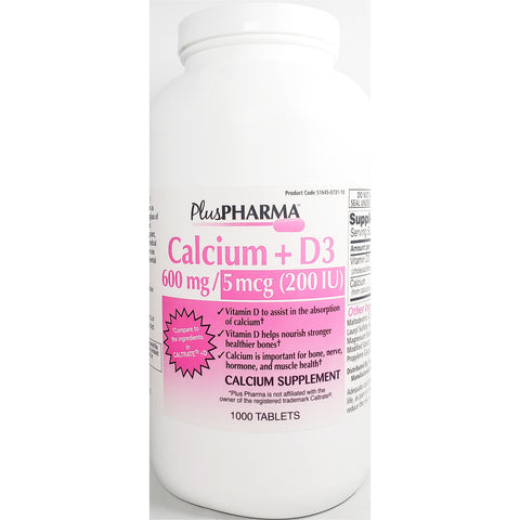 PlusPharma Calcium 600 mg + D3 200 IU (Compare to Caltrate + D) 1000 Tablets
